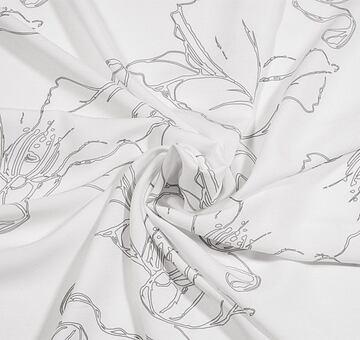 Autorská látka makové květy, bílé, viskóza EcoVero, 1m