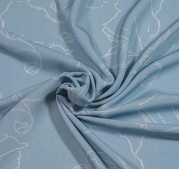 Autorská látka makové květy, modré, viskóza EcoVero