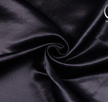 Hedvábný satén se lnem, černý, 1.65m