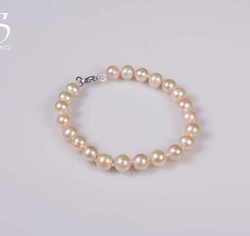 Perlový náramek růžový, klasické perly