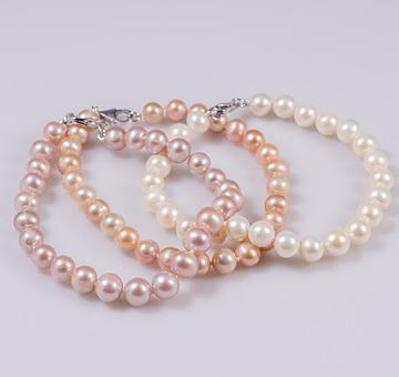 Perlový náramek lososový, klasické perly