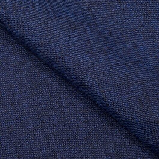 Žíhané lněné plátno, modro-černé