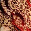 Samet 15.století, granátový vzor, červený