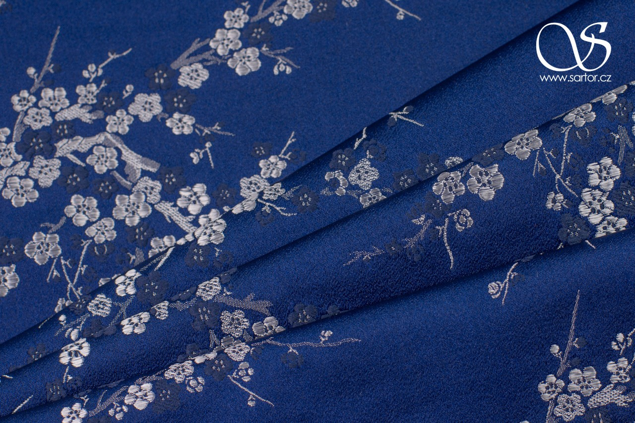 Brocade Sakura, Dark Blue and White