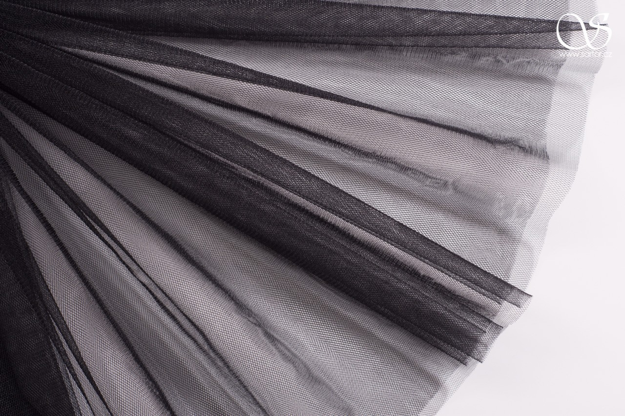 Fine Veil Tulle, Black DEFFECTS