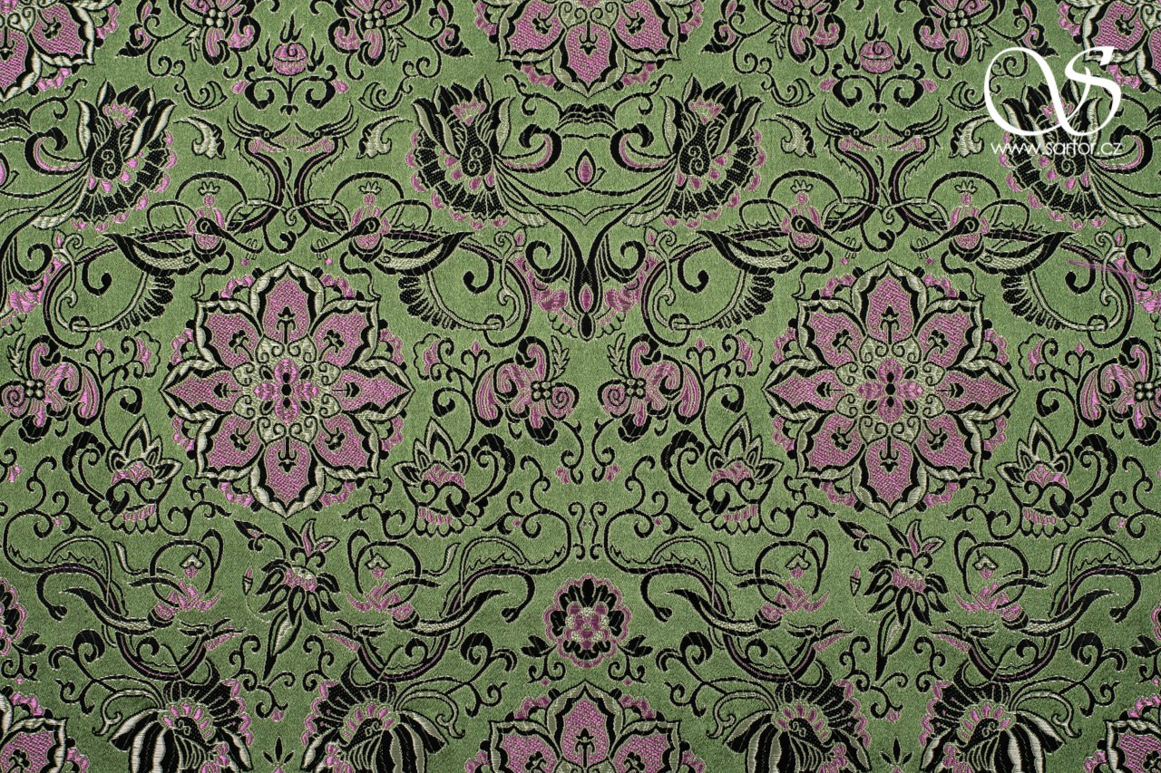 Brocade Chrysanthemum, Olive Green and Pink