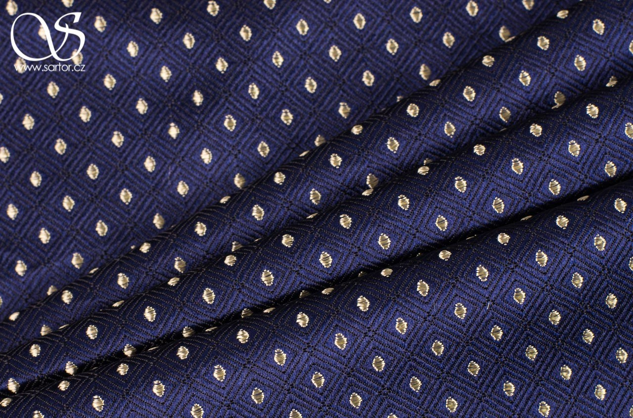 Brocade Sienna, Dark Blue and Gold