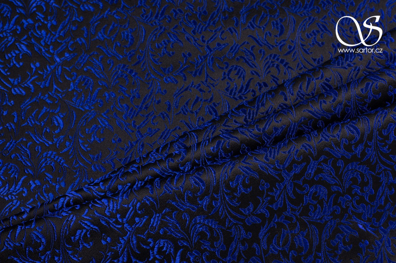 Brocade Ornaments, Black and Blue