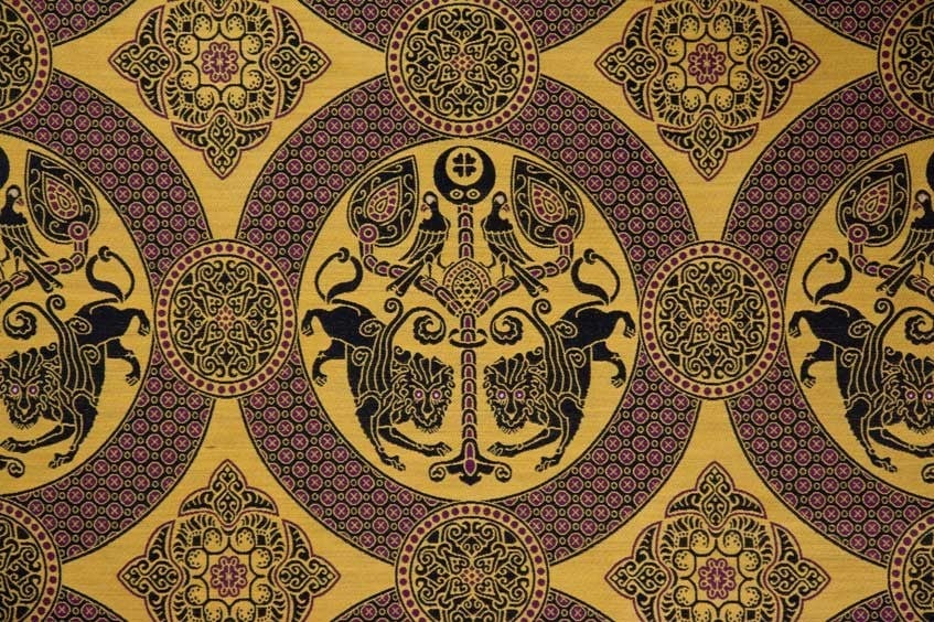 Byzantine Brocade with Winged Lions in Medallions