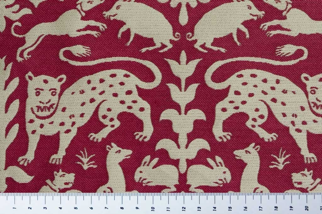 Lampas with Hunting Scene, Red