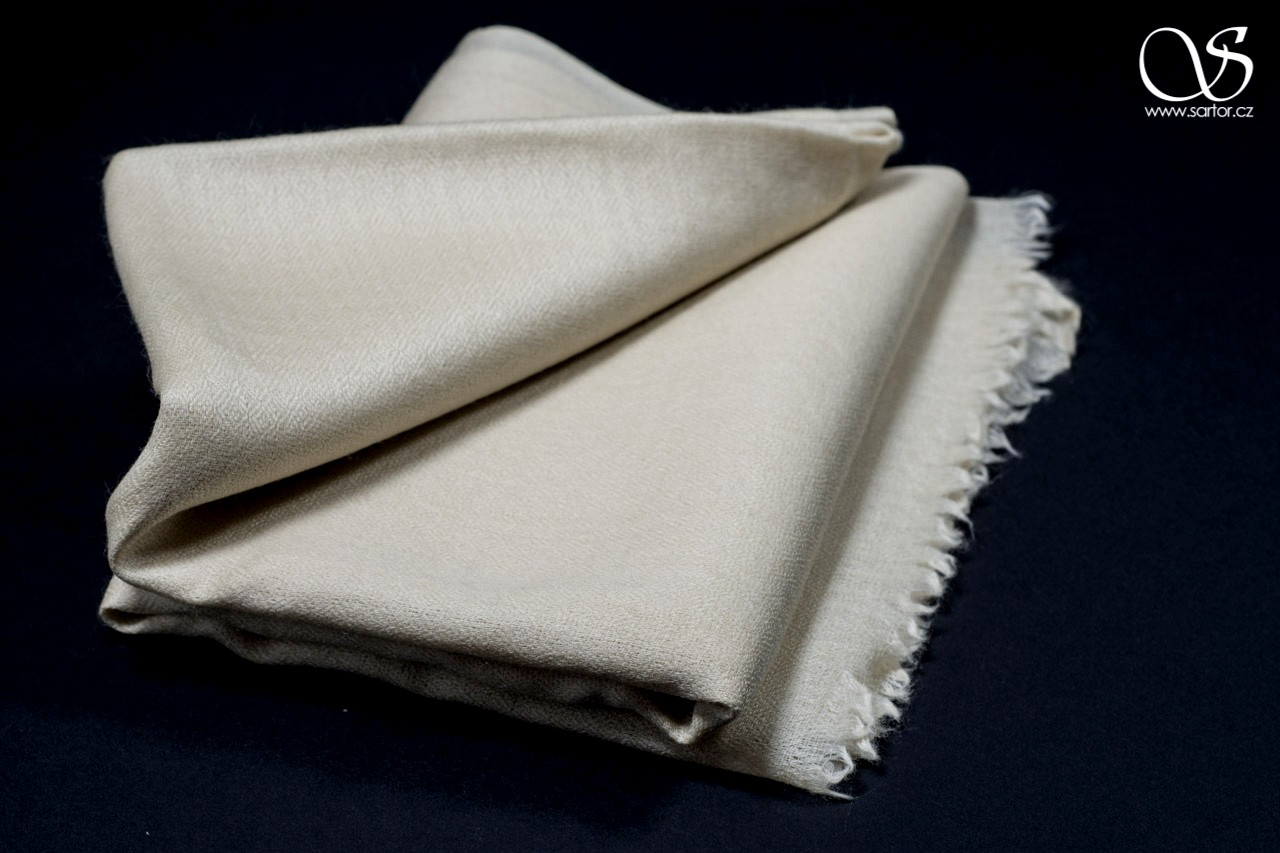 Wool Scarf w/Silk, Cream