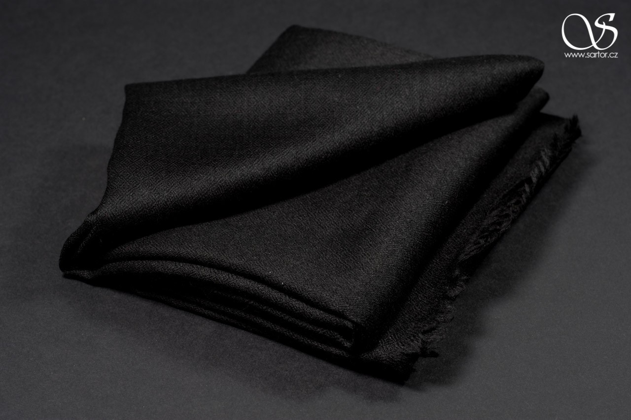 Wool Scarf w/Silk, Black