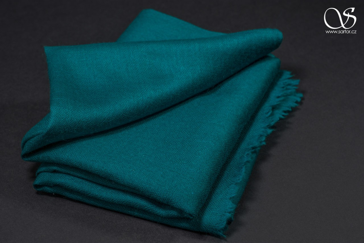 Wool Scarf w/Silk, peacock green