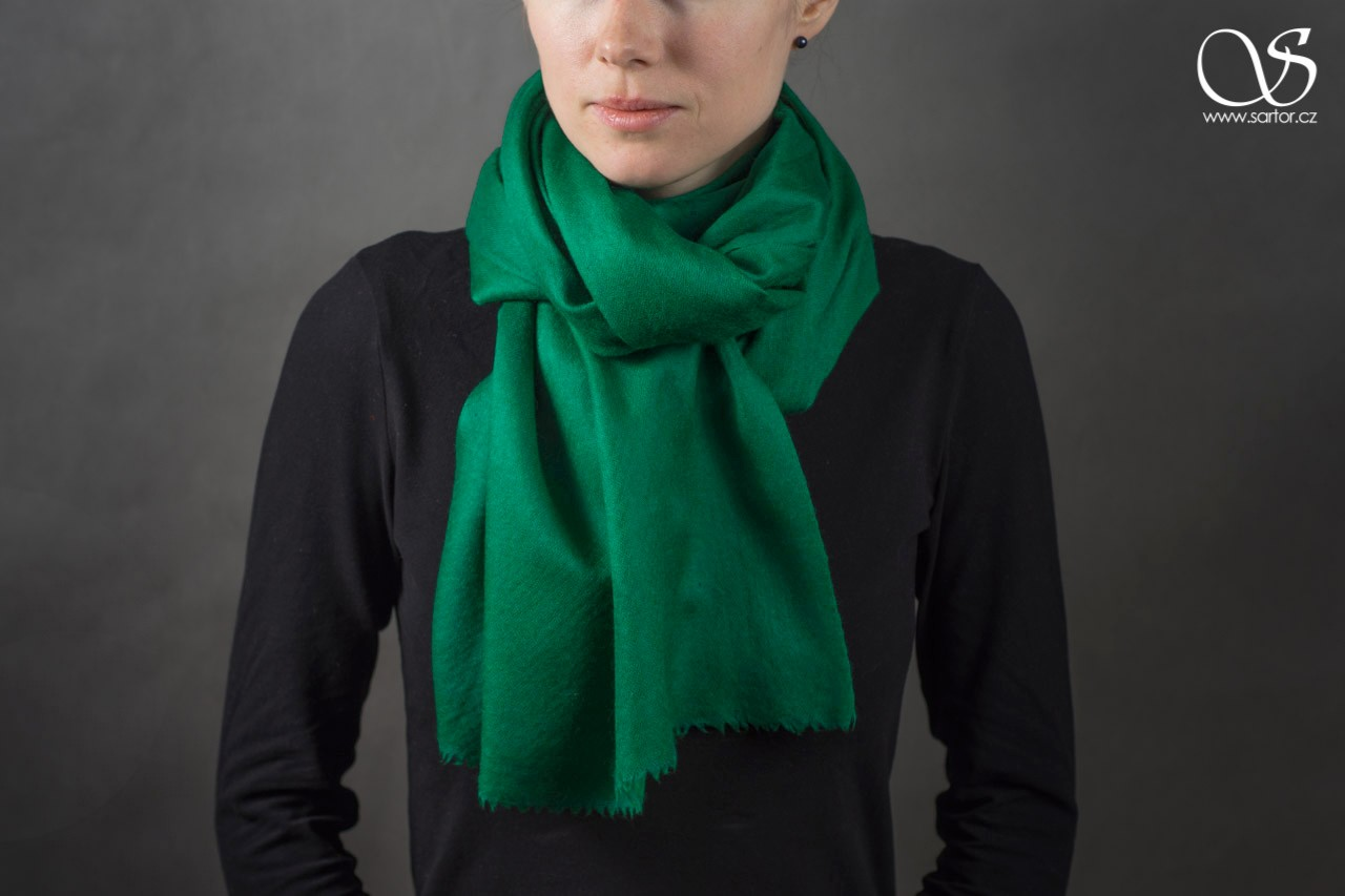 Wool Scarf w/Silk, Emerald Green