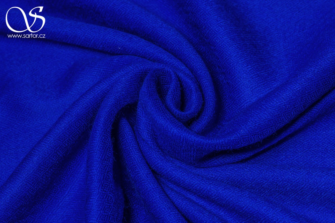 Wool Scarf w/Silk, Royal Blue