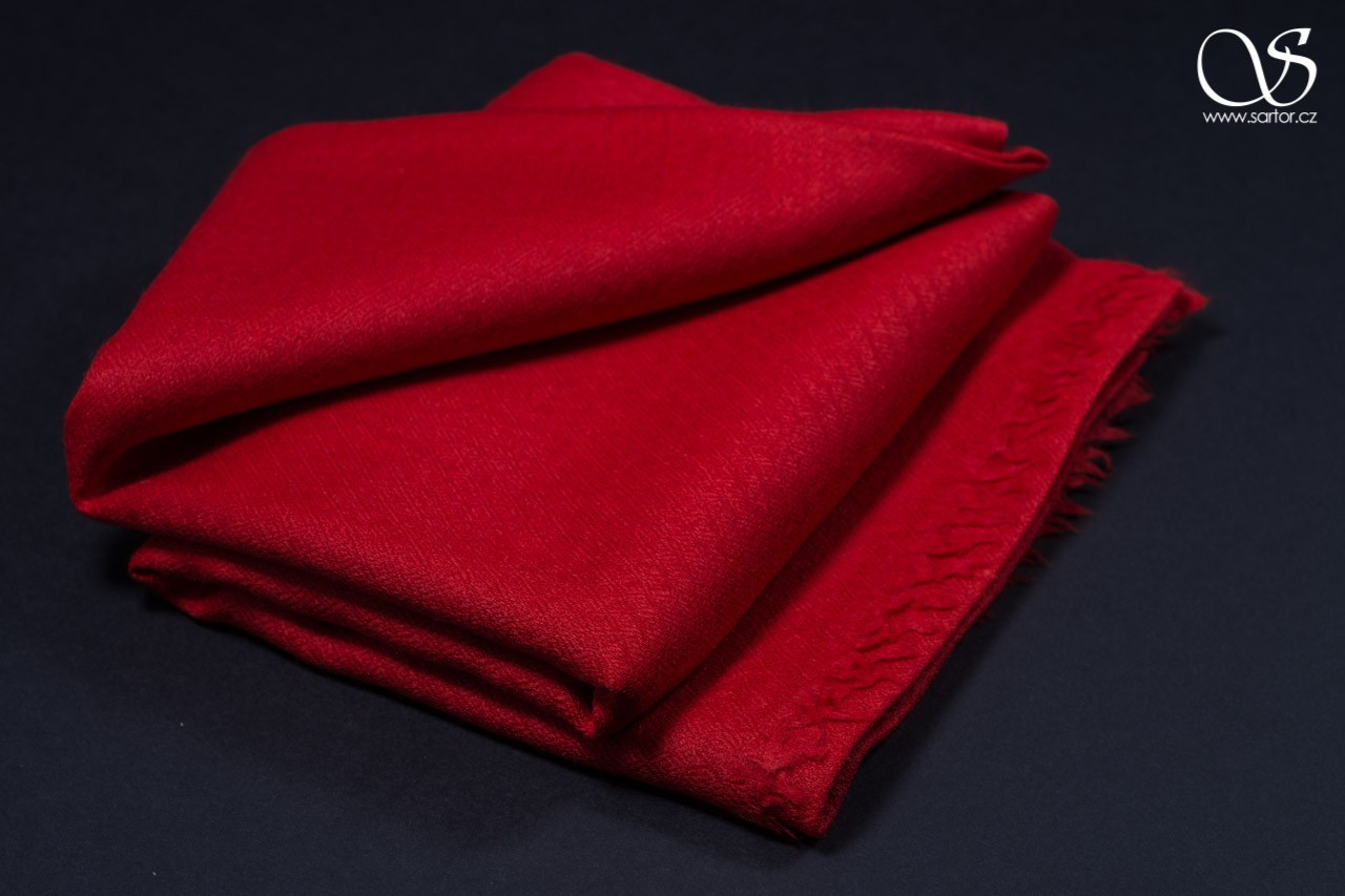 Wool Scarf w/Silk, Red