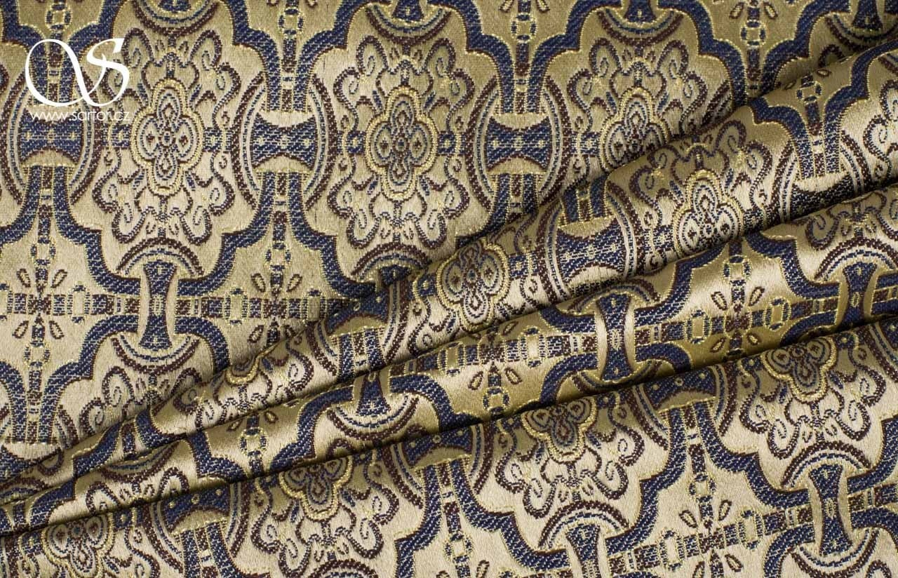 Historical Brocade, Blue and Gold