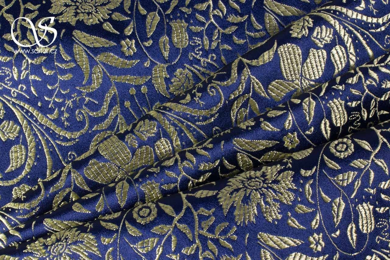 Brocade Floral, Dakr Blue and Gold