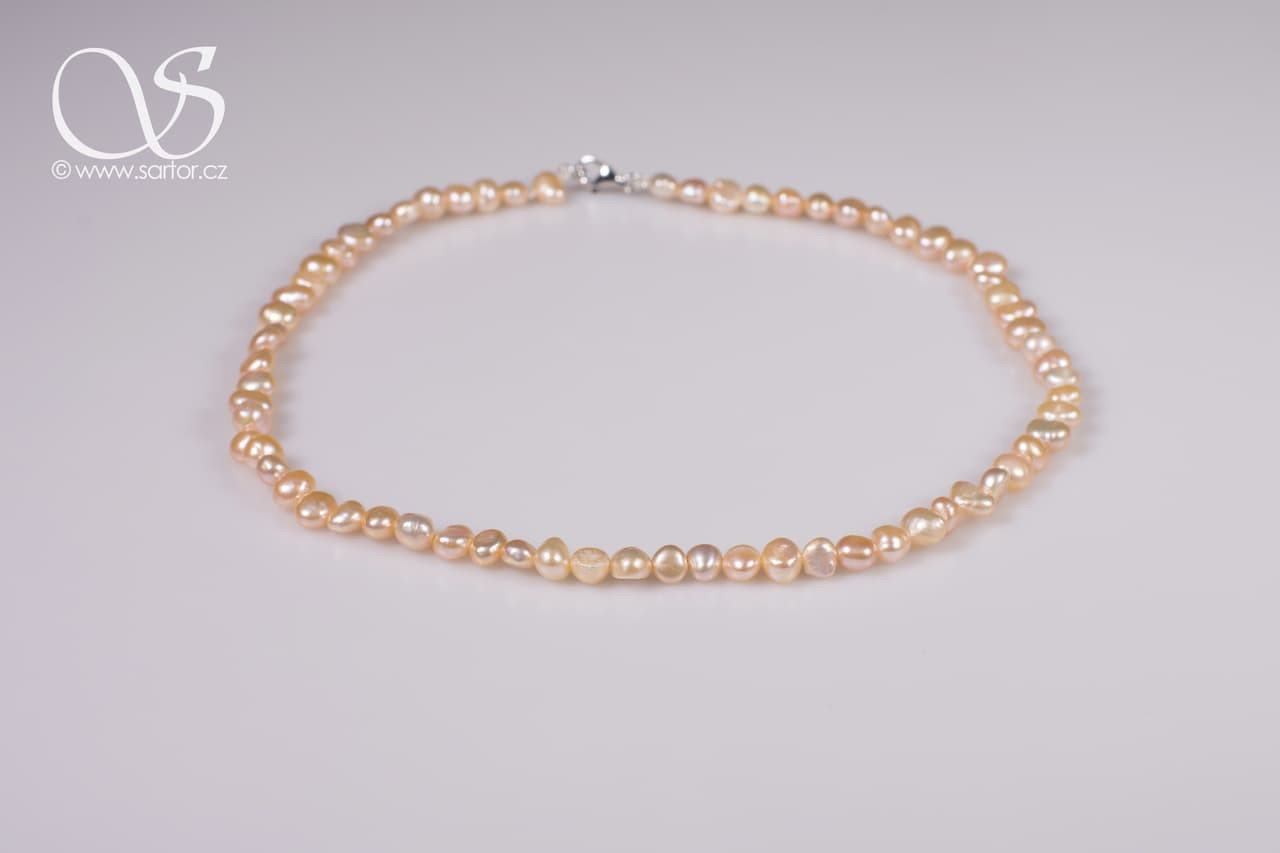 Necklace, Small Baroque Pearls, Salmon