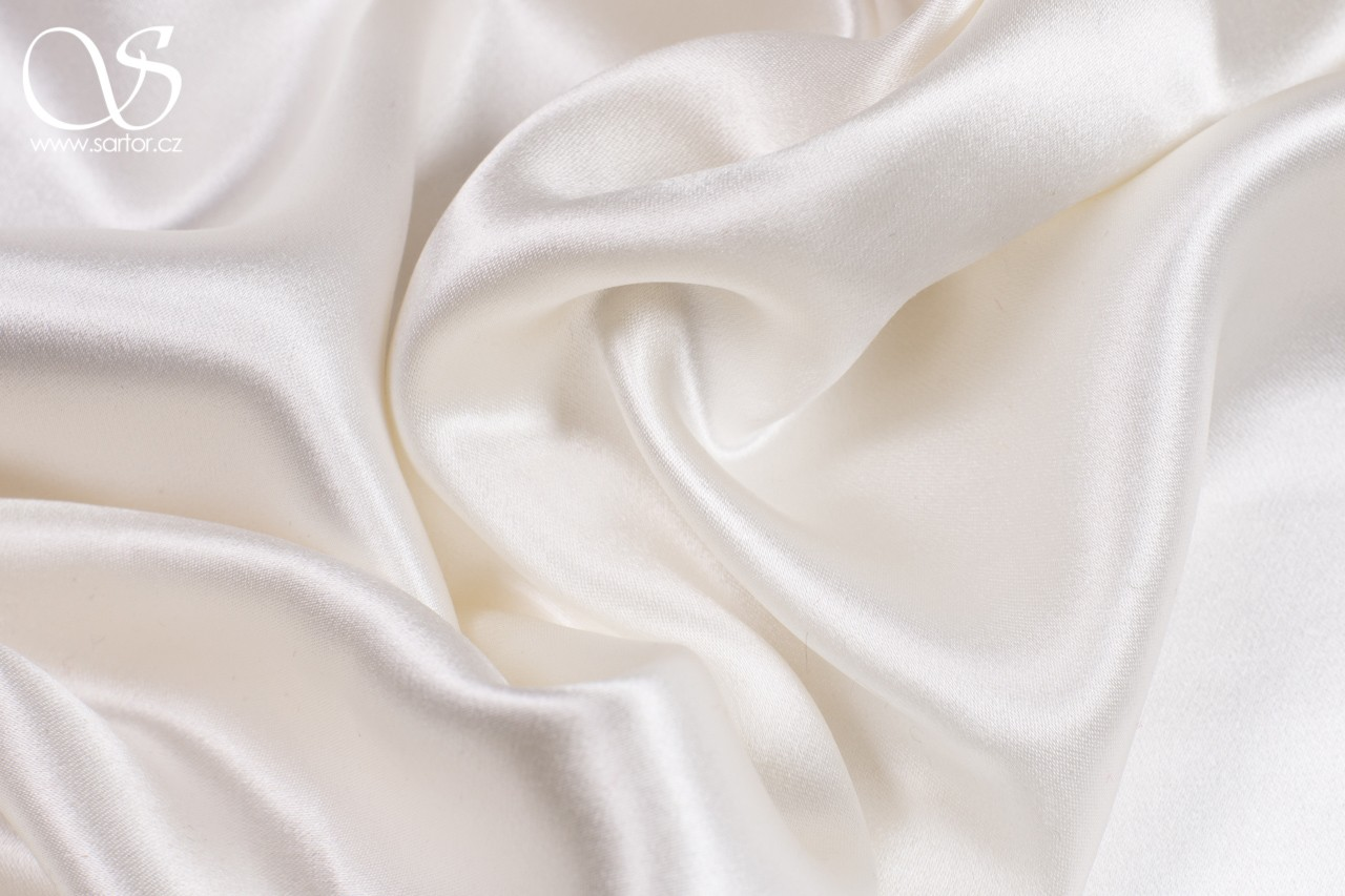 Heavy Crepe Satin Stretch, Ivory