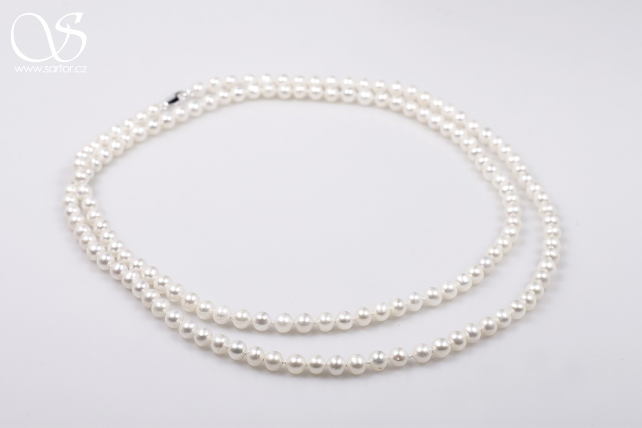 Long Necklace, Small Round Pearls