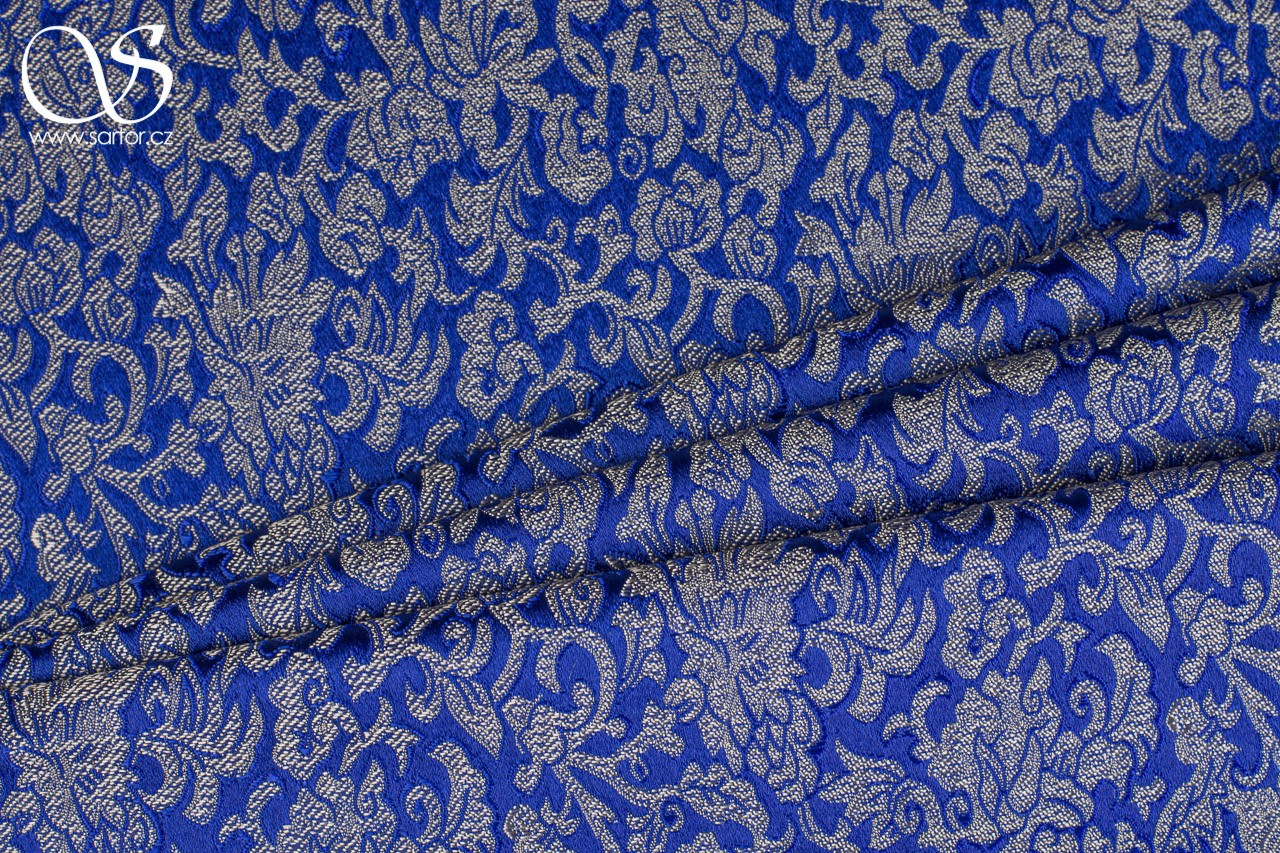 Brocade Seabed, Royal Blue and Gold