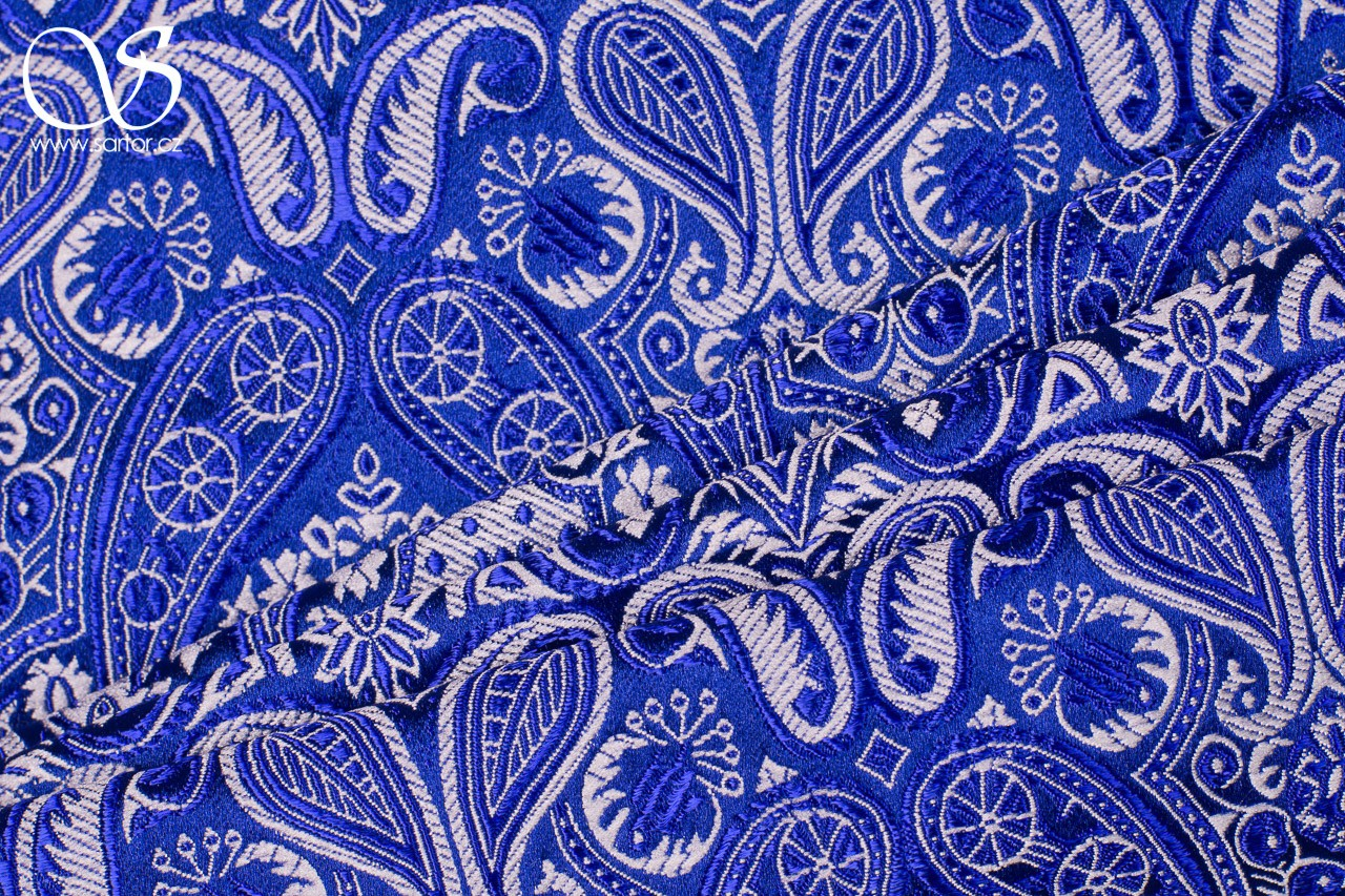Brocade of the Duke, Royal Blue and White