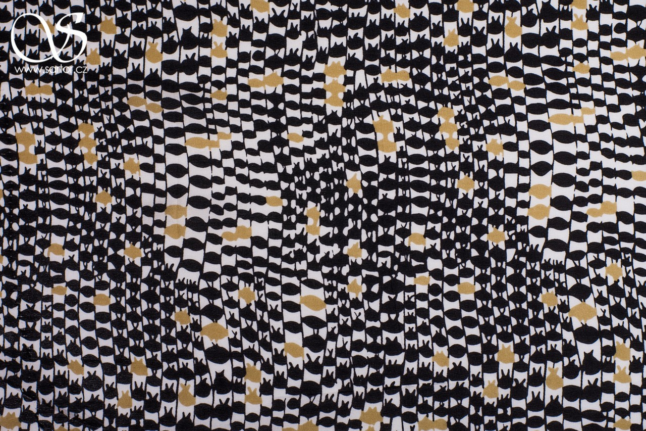 Printed Crepe de Chine, Black and Gold
