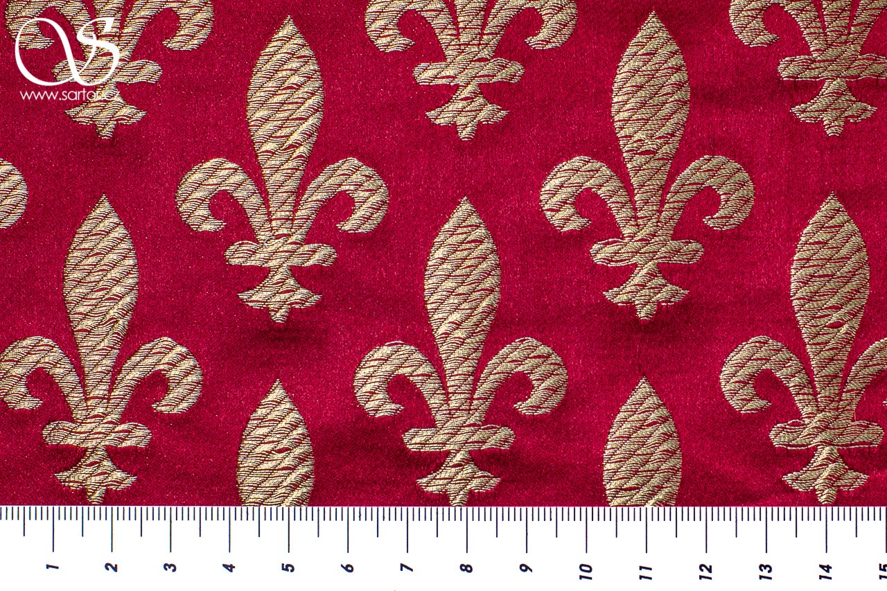 Brocade Fleur de Lis, Crimson and Gold