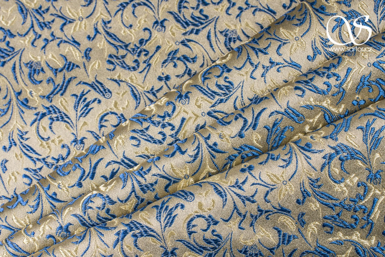 Brocade Ornaments, Gold and Blue