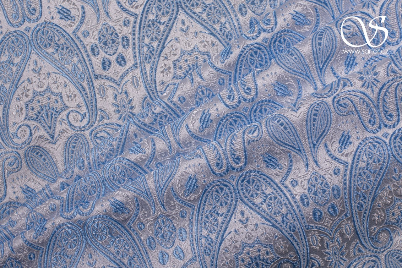 Brocade of the Duke, Light Blue and White