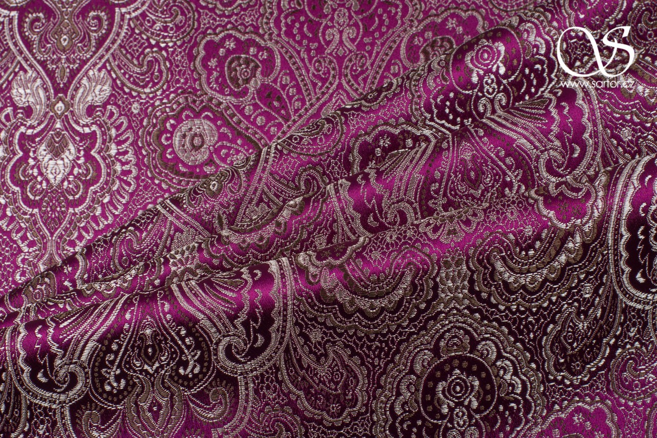 Brocade Paisley Orient, Wine Red and Silver