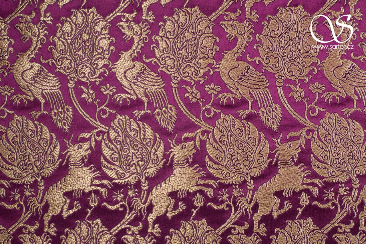 Brocade with Qilins and Phoenixes, Wine Red