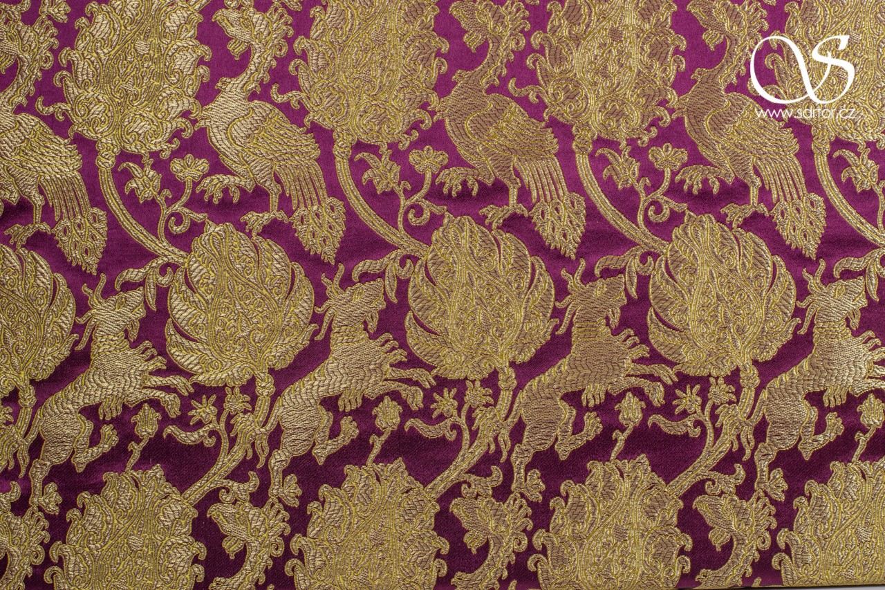 Gilded Brocade with Qilins and Phoenixes, Wine Red