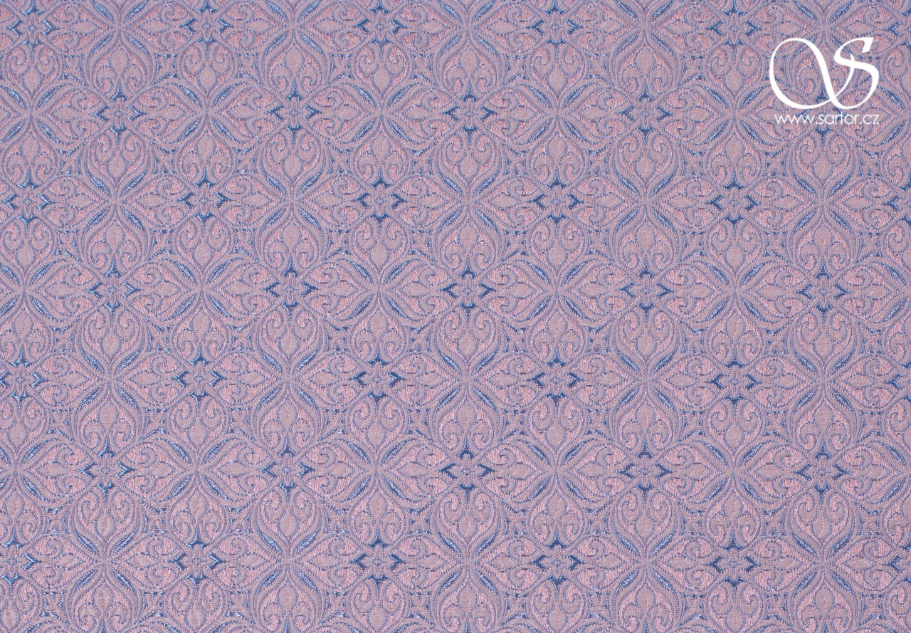 Noble Brocade, Light Pink and Blue
