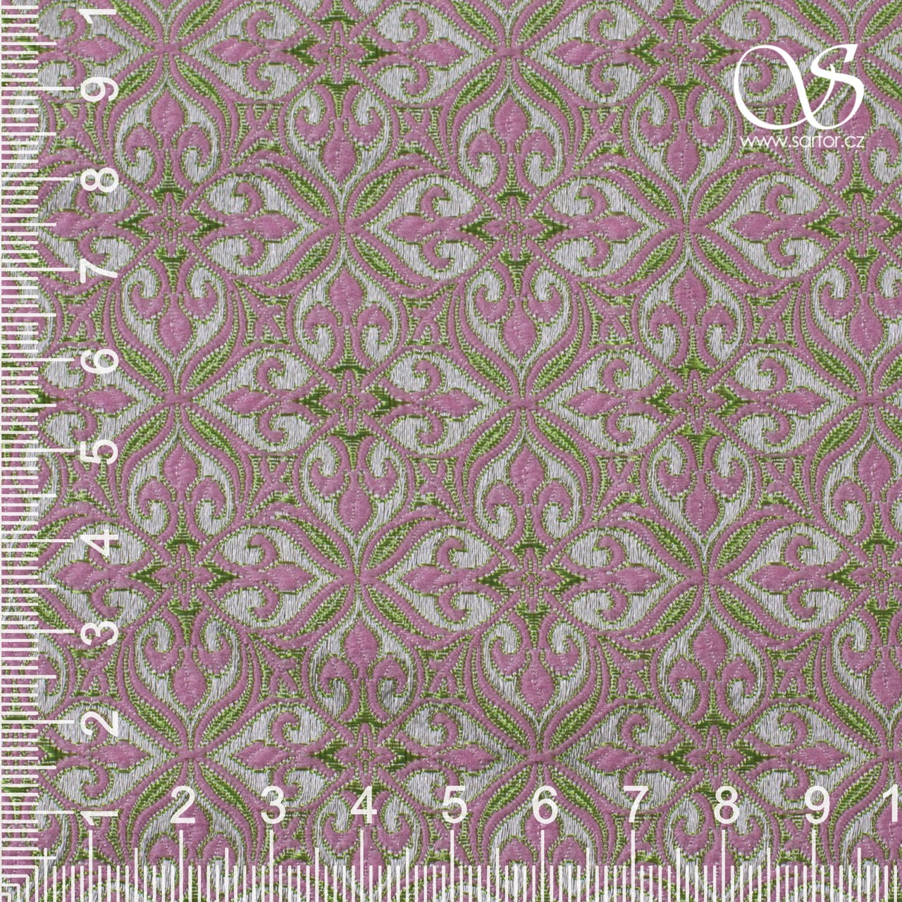 Noble Brocade, Light Pink and Green
