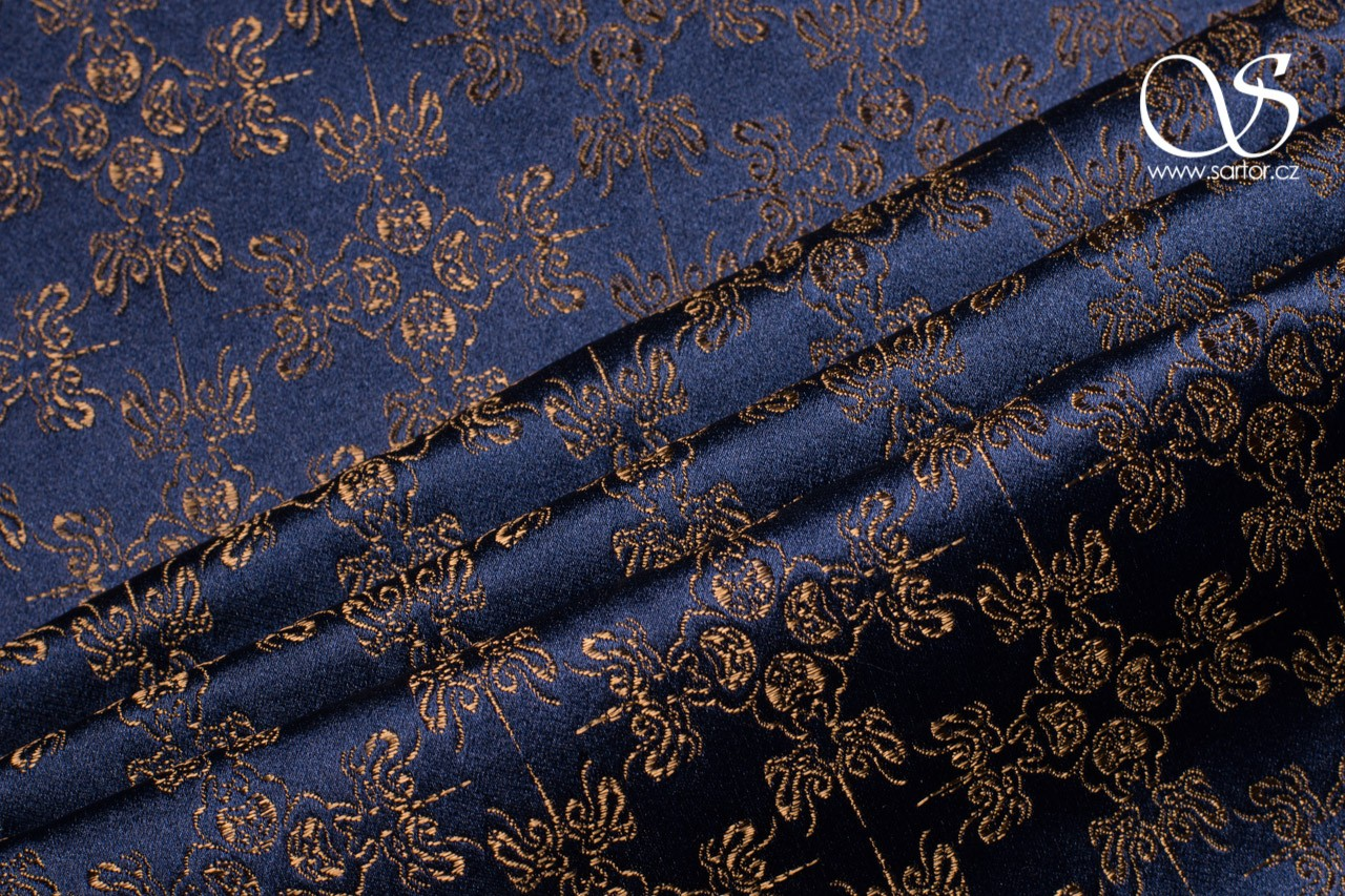 Brocade w/ Embellished Crosses, Dark Blue and Bronze