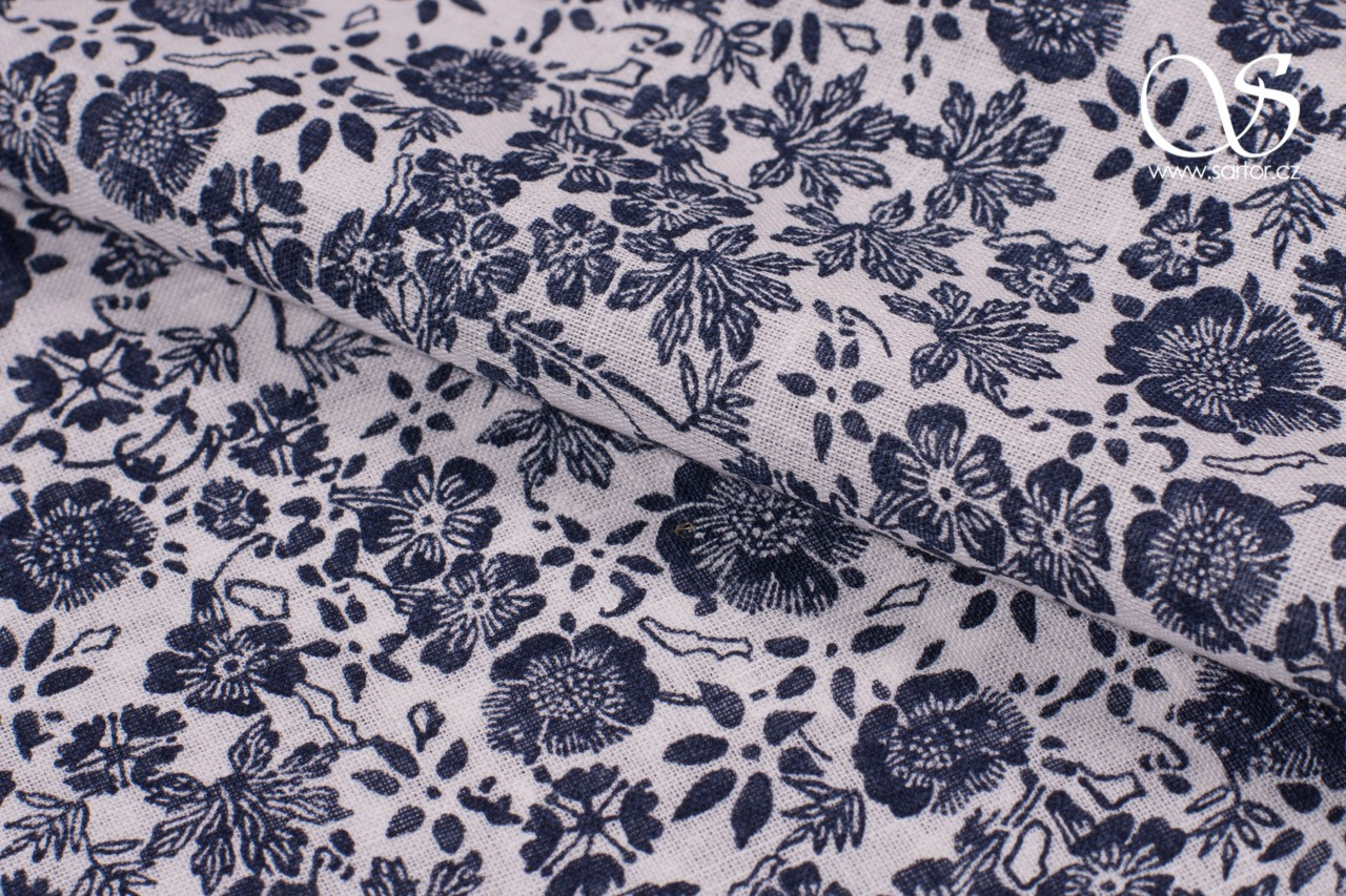 Fine Linen with Cotton, Flowers, Dark Blue and White