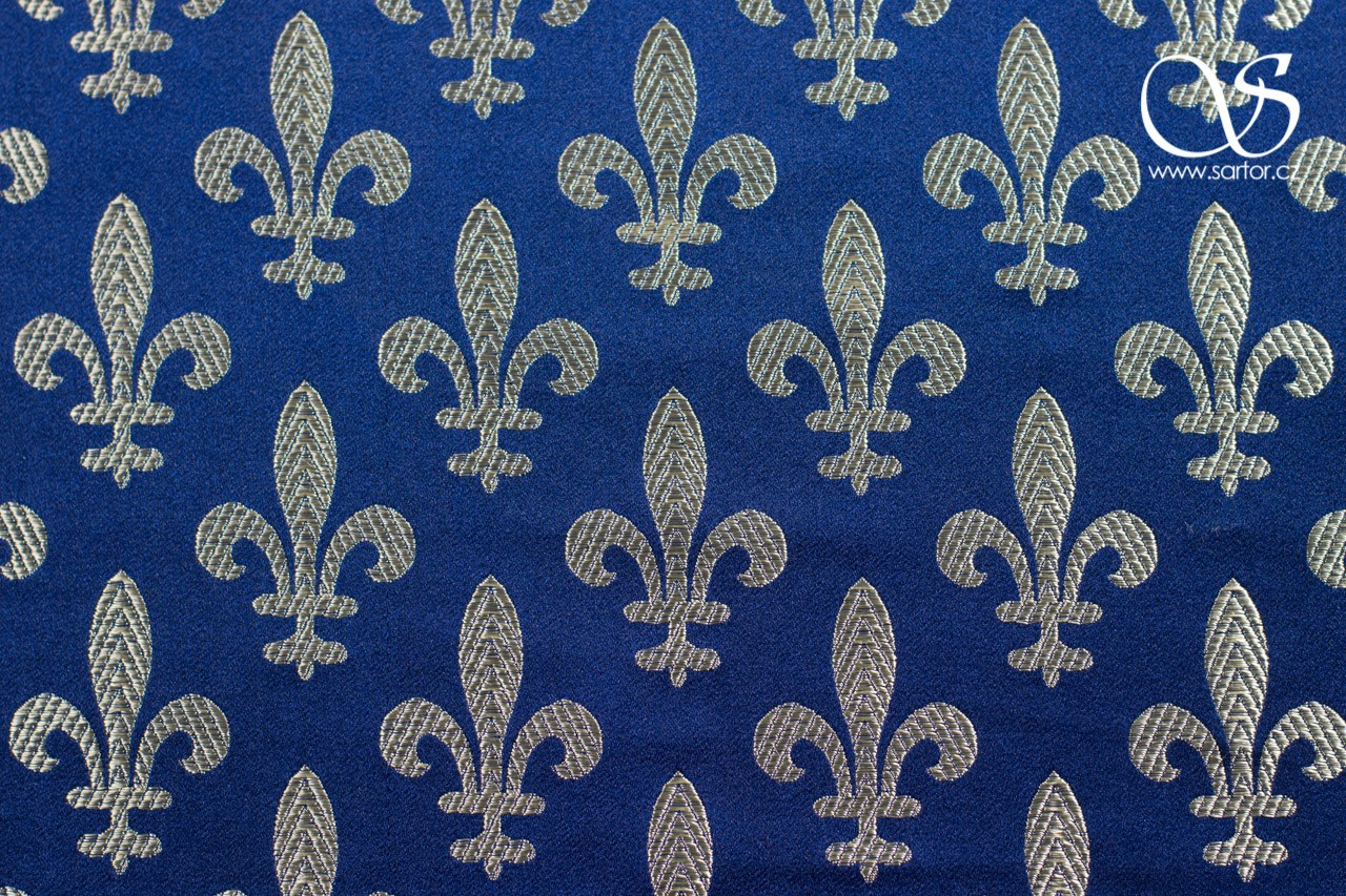 Brocade Fleur de Lis, Dark Blue and Gold