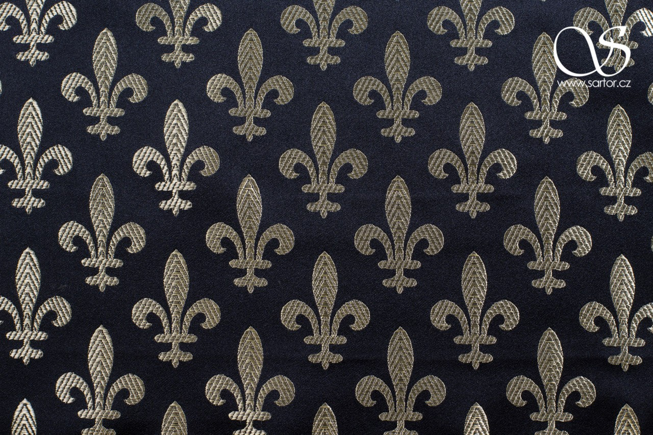 Brocade Fleur de Lis, Black and Gold