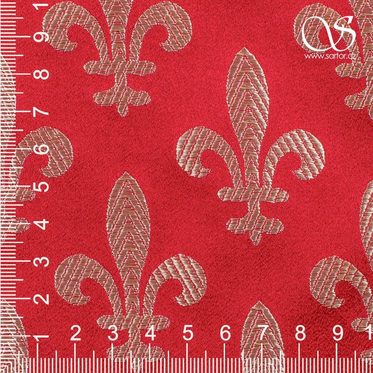 Brocade Fleur de Lis, Red and Gold
