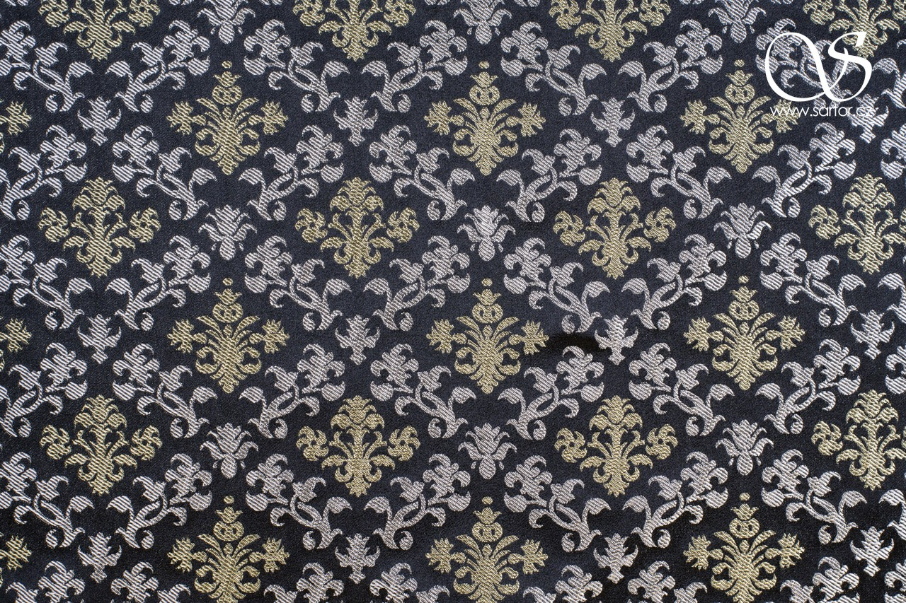 Floral Renaissance Brocade, Black with Silver and Gold DEFECTS