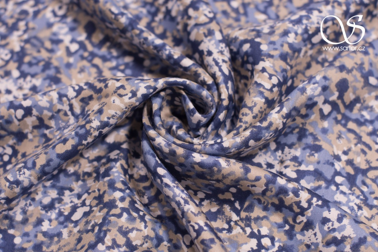 Printed Twill, Blue and Beige
