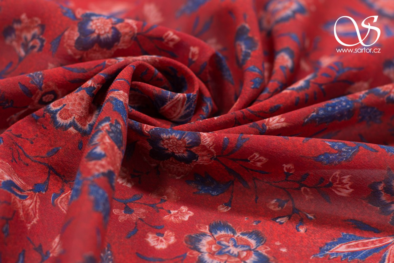 Fine Crepe de Chine, Carnation, Crimson and Blue