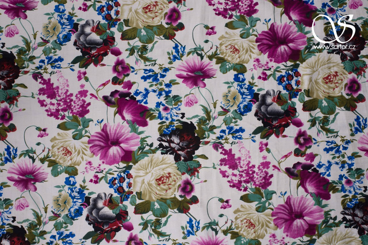 Shantung, Colourful Flowers, Cream