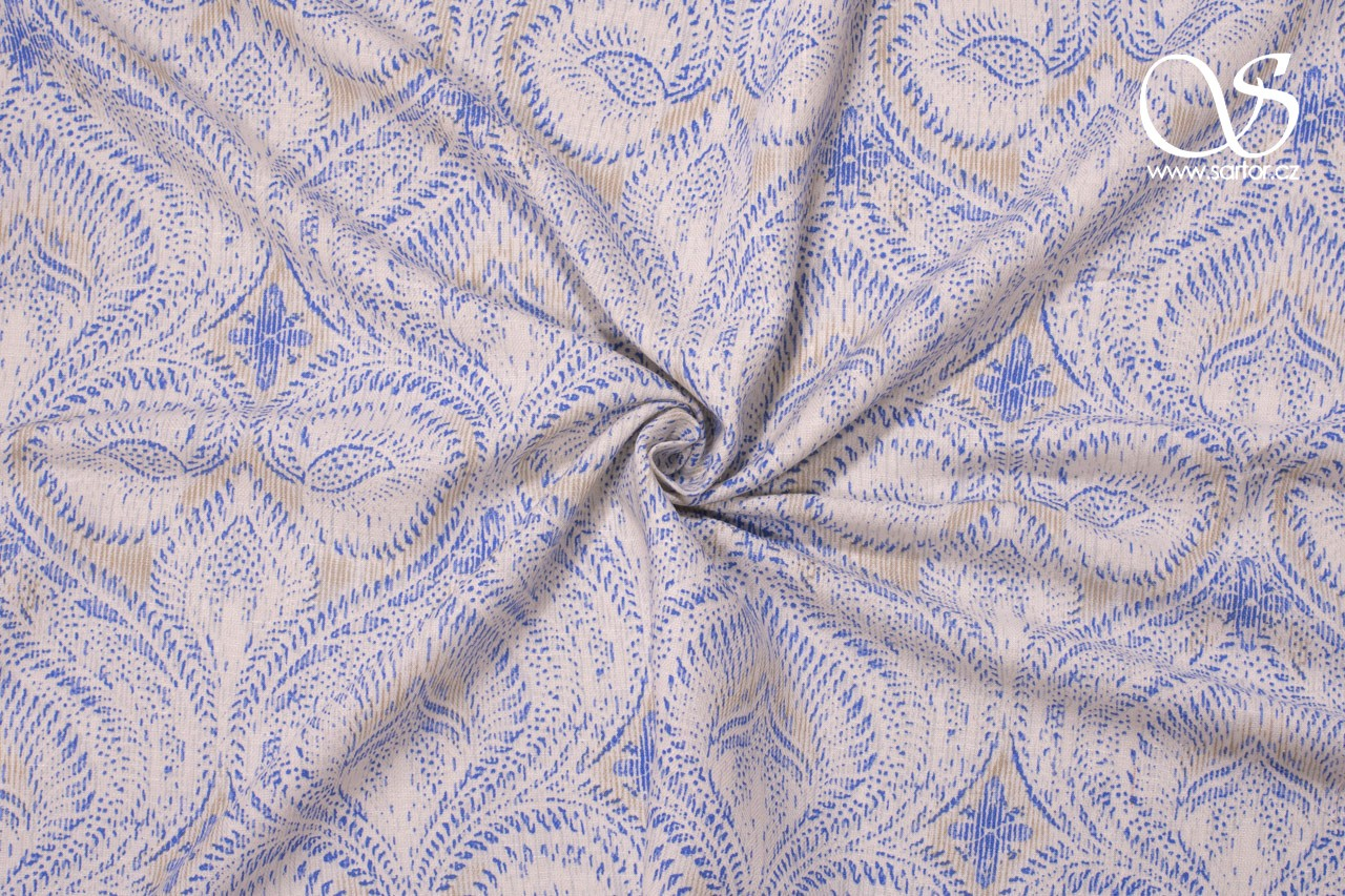 Schappe Silk with Print, Blue and White