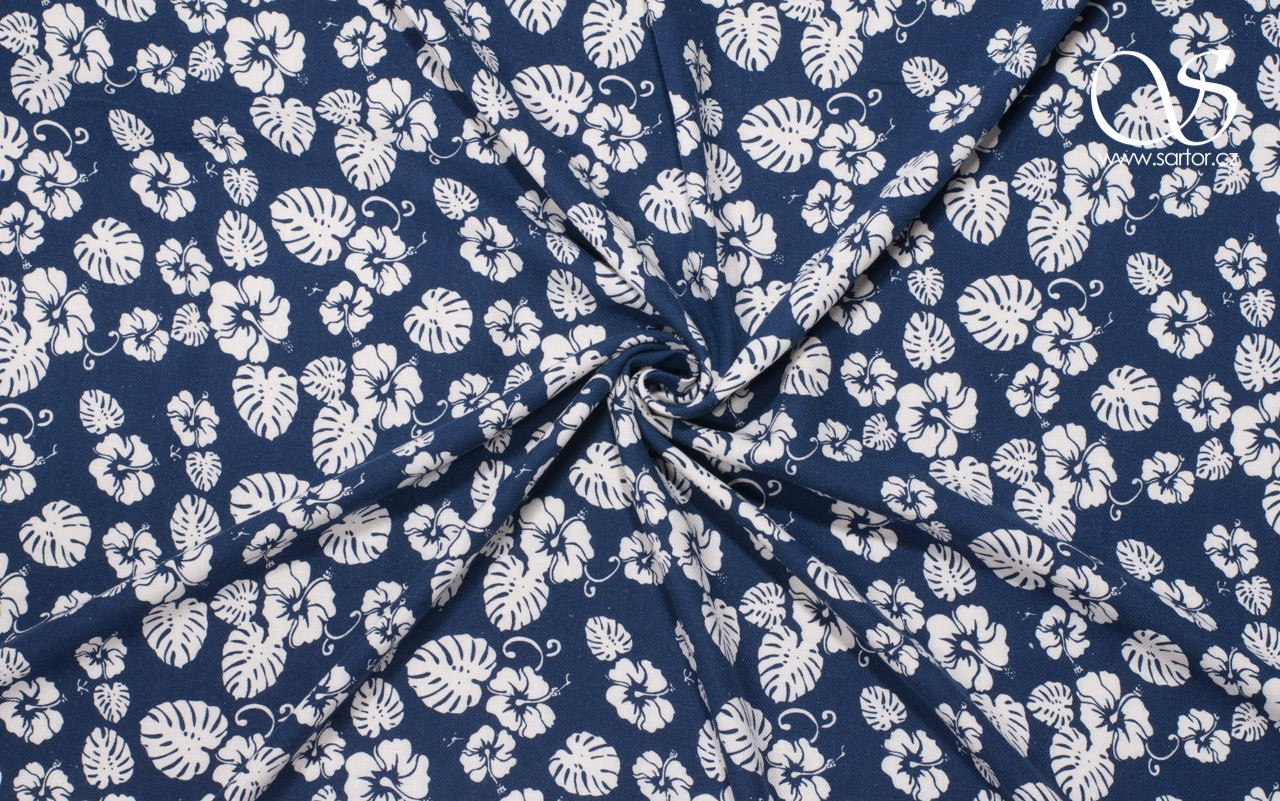 Schappe Silk Monstera, Dark Blue
