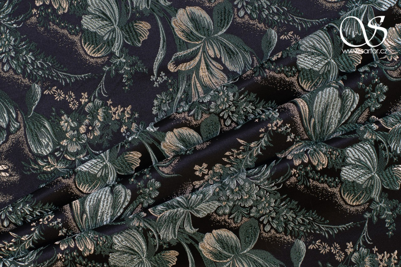 Brocade Iris, Black and Green
