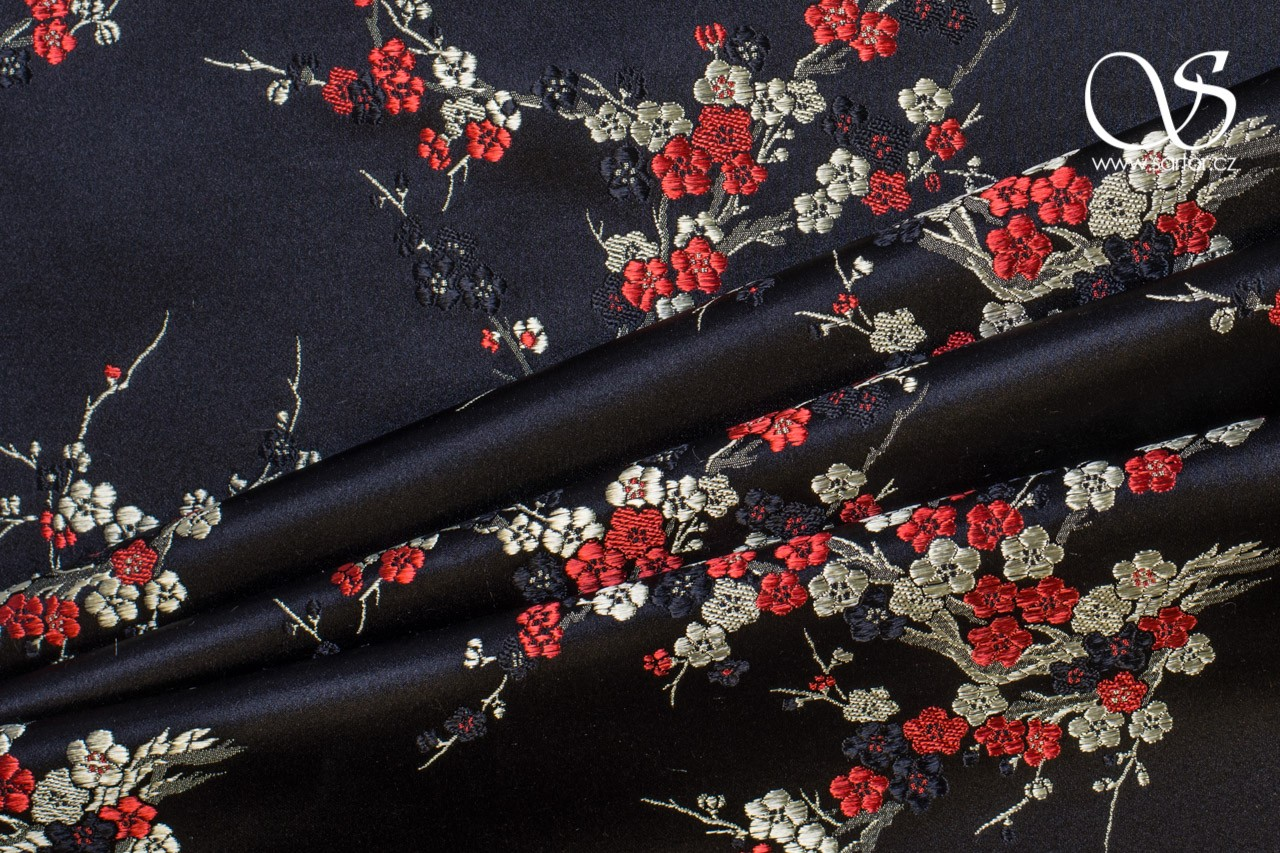 Brocade Sakura, Black with Red and Gold