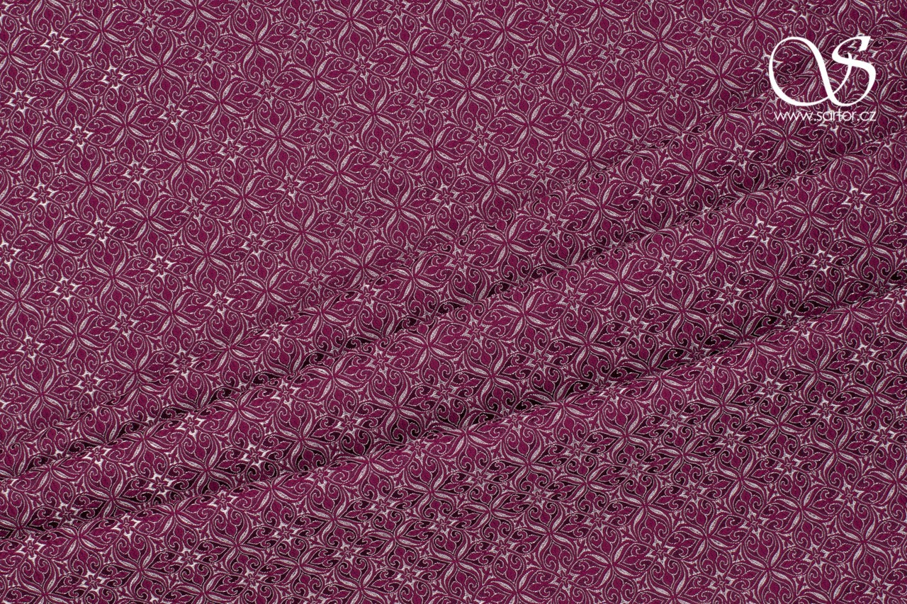 Noble Brocade, Wine Red and White